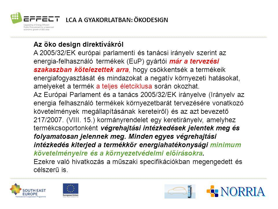 LCA A GYAKORLATBAN: ÖKODESIGN Az öko design direktívákról A 2005/32/EK európai parlamenti és tanácsi irányelv szerint az energia-felhasználó termékek