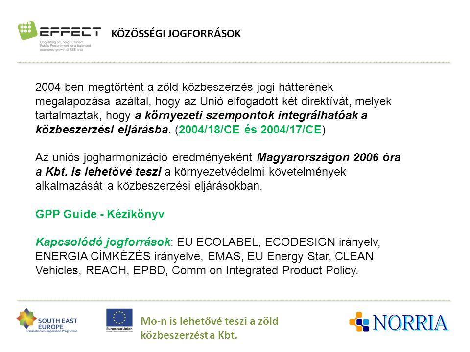 KÖZÖSSÉGI JOGFORRÁSOK Mo-n is lehetővé teszi a zöld közbeszerzést a Kbt. 2004-ben megtörtént a zöld közbeszerzés jogi hátterének megalapozása azáltal,