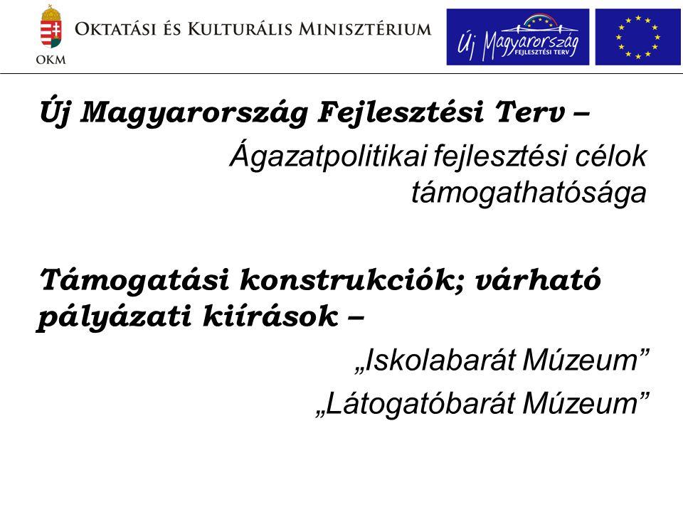 """Új Magyarország Fejlesztési Terv – Ágazatpolitikai fejlesztési célok támogathatósága Támogatási konstrukciók; várható pályázati kiírások – """"Iskolabarát Múzeum """"Látogatóbarát Múzeum"""