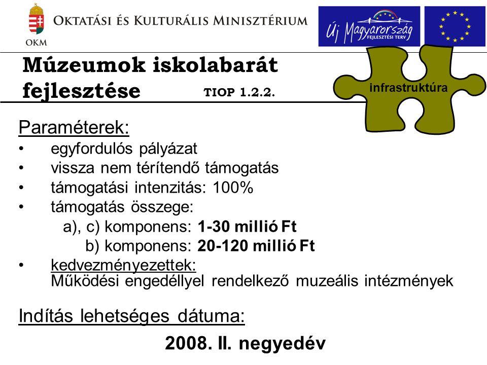 Paraméterek: •egyfordulós pályázat •vissza nem térítendő támogatás •támogatási intenzitás: 100% •támogatás összege: a), c) komponens: 1-30 millió Ft b) komponens: 20-120 millió Ft •kedvezményezettek: Működési engedéllyel rendelkező muzeális intézmények Indítás lehetséges dátuma: 2008.