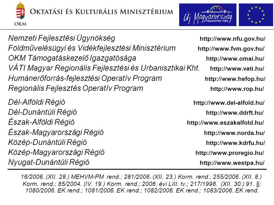 Nemzeti Fejlesztési Ügynökség http://www.nfu.gov.hu/ Földművelésügyi és Vidékfejlesztési Minisztérium http://www.fvm.gov.hu/ OKM Támogatáskezelő Igazgatósága http://www.omai.hu/ VÁTI Magyar Regionális Fejlesztési és Urbanisztikai Kht.