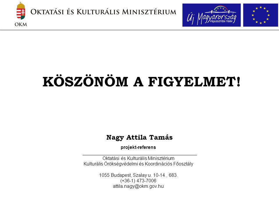 Nagy Attila Tamás projekt-referens Oktatási és Kulturális Minisztérium Kulturális Örökségvédelmi és Koordinációs Főosztály 1055 Budapest, Szalay u.