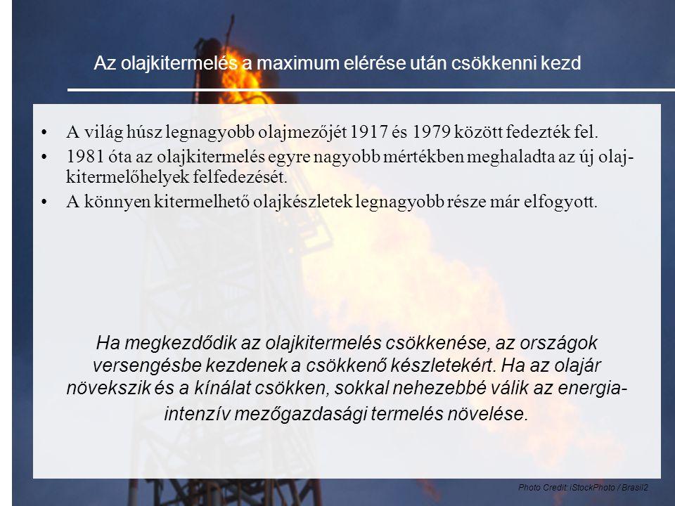 Az olajkitermelés a maximum elérése után csökkenni kezd •A világ húsz legnagyobb olajmezőjét 1917 és 1979 között fedezték fel.