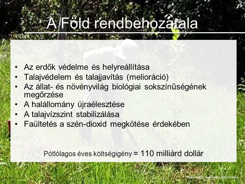 A Föld rendbehozatala •Az erdők védelme és helyreállítása •Talajvédelem és talajjavítás (melioráció) •Az állat- és növényvilág biológiai sokszínűségének megőrzése •A halállomány újraélesztése •A talajvízszint stabilizálása •Faültetés a szén-dioxid megkötése érdekében Pótlólagos éves költségigény = 110 milliárd dollár Photo Credit:: Fundacion Zoobreviven