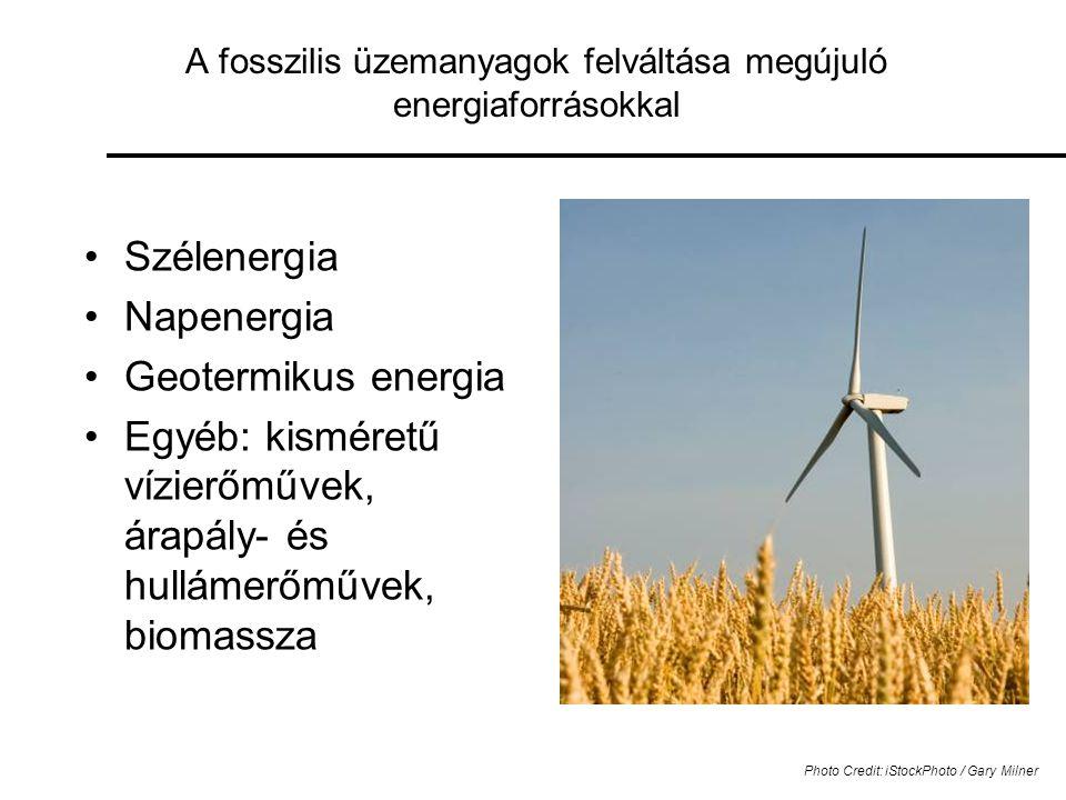 A fosszilis üzemanyagok felváltása megújuló energiaforrásokkal •Szélenergia •Napenergia •Geotermikus energia •Egyéb: kisméretű vízierőművek, árapály- és hullámerőművek, biomassza Photo Credit: iStockPhoto / Gary Milner