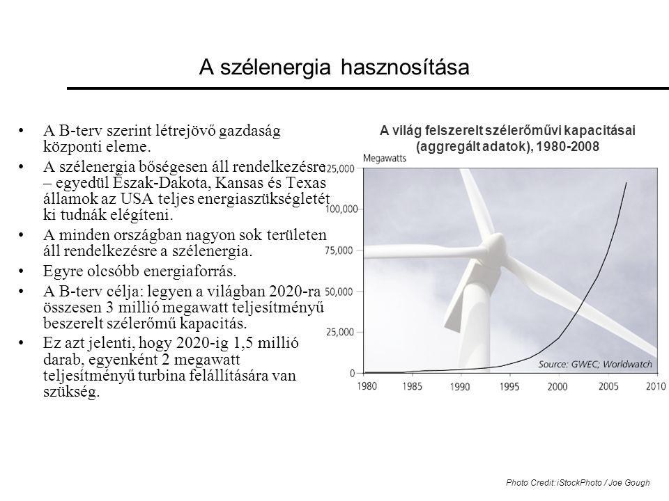 A világ felszerelt szélerőművi kapacitásai (aggregált adatok), 1980-2008 A szélenergia hasznosítása •A B-terv szerint létrejövő gazdaság központi eleme.