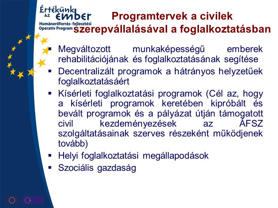 Programtervek a civilek szerepvállalásával a foglalkoztatásban  Megváltozott munkaképességű emberek rehabilitációjának és foglalkoztatásának segítése