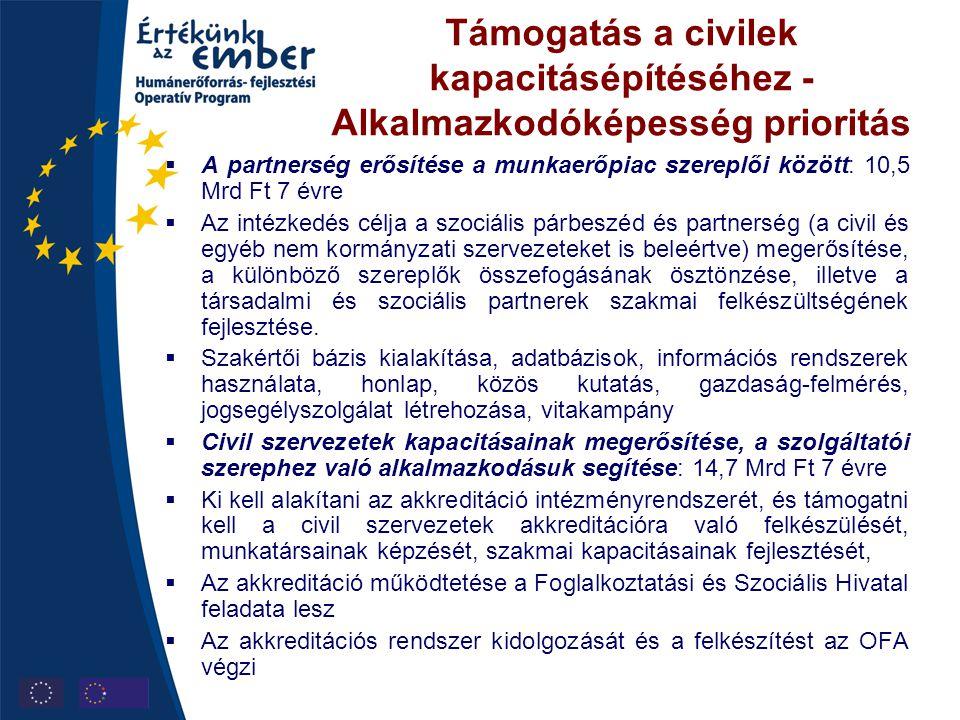 Támogatás a civilek kapacitásépítéséhez - Alkalmazkodóképesség prioritás  A partnerség erősítése a munkaerőpiac szereplői között: 10,5 Mrd Ft 7 évre