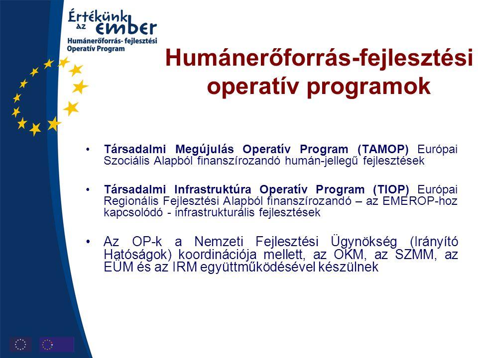 Humánerőforrás-fejlesztési operatív programok •Társadalmi Megújulás Operatív Program (TAMOP) Európai Szociális Alapból finanszírozandó humán-jellegű f