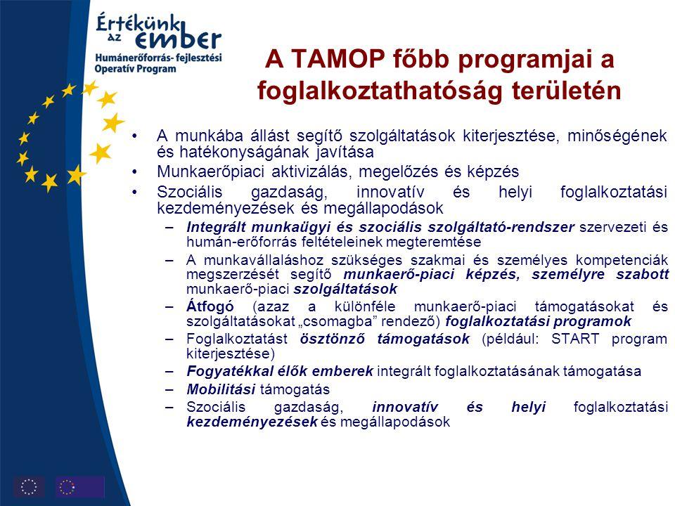 A TAMOP főbb programjai a alkalmazkodóképesség területén •A képzéshez való hozzáférés segítése •A munkaerőpiaci alkalmazkodást segítő intézményrendszer fejlesztése •A szervezetek alkalmazkodóképességének fejlesztése –Átfogó, kompetenciafejlesztő felnőttoktatási és -képzési programok –Munkahelyi képzések támogatása –Tanulási lehetőségek bővítése, új tanulási formák elterjedésének ösztönzése –A szakképzés, felsőoktatás és a felnőttképzés rendszerének összehangolt fejlesztése, a gazdaság igényeihez illeszkedésük ösztönzése (regionális képzési hálózatok, TISZK-ek, képzőktől független vizsgarendszer) –A pályaválasztási és pályamódosítási döntéseket megalapozó pálya- tanácsadási, pályaorientációs információs rendszer és a pályakövetés rendszerének fejlesztése –A gazdasági szerkezetváltás előrejelzése és kezelése –Munkaerő-piaci rugalmasság: a nem hagyományos foglalkoztatási formák elterjesztése, vállalatok szervezeti kultúrájának fejlesztése –A társadalmi partnerség szociális párbeszéd erősítése –Civil szervezetek felkészítése bizonyos állami feladatok átvállalására –Munkaerő-piaci rugalmasság és biztonság erősítése