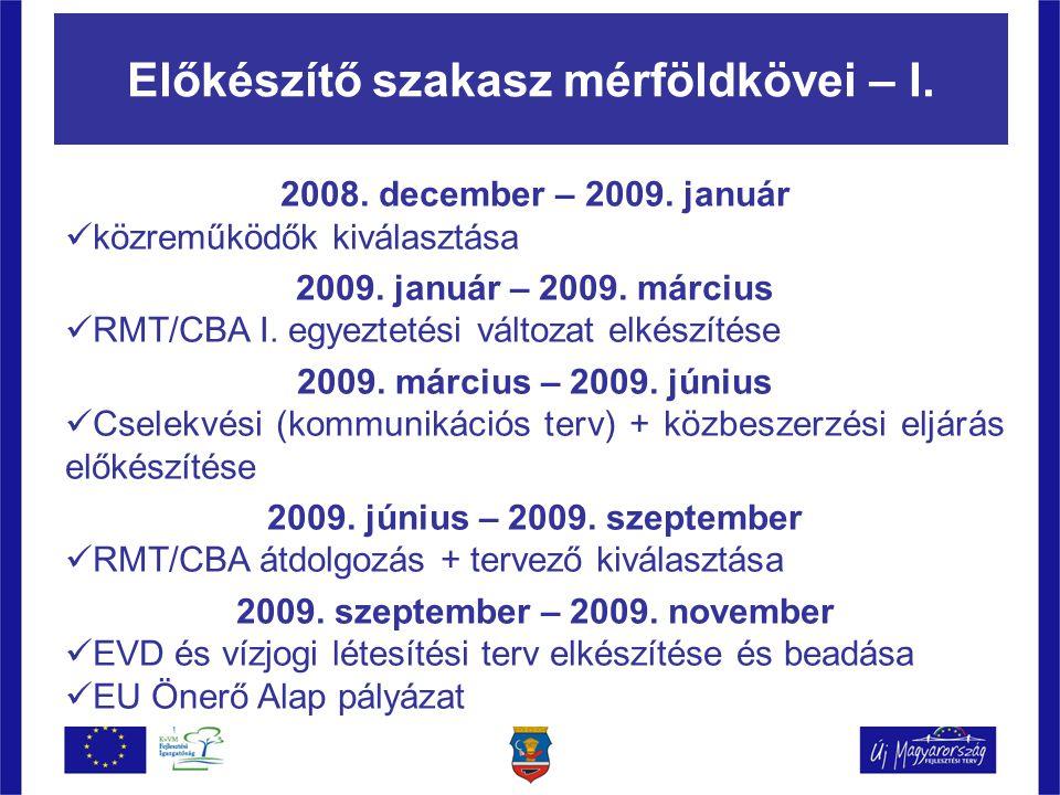 Előkészítő szakasz mérföldkövei – I. 2008. december – 2009.