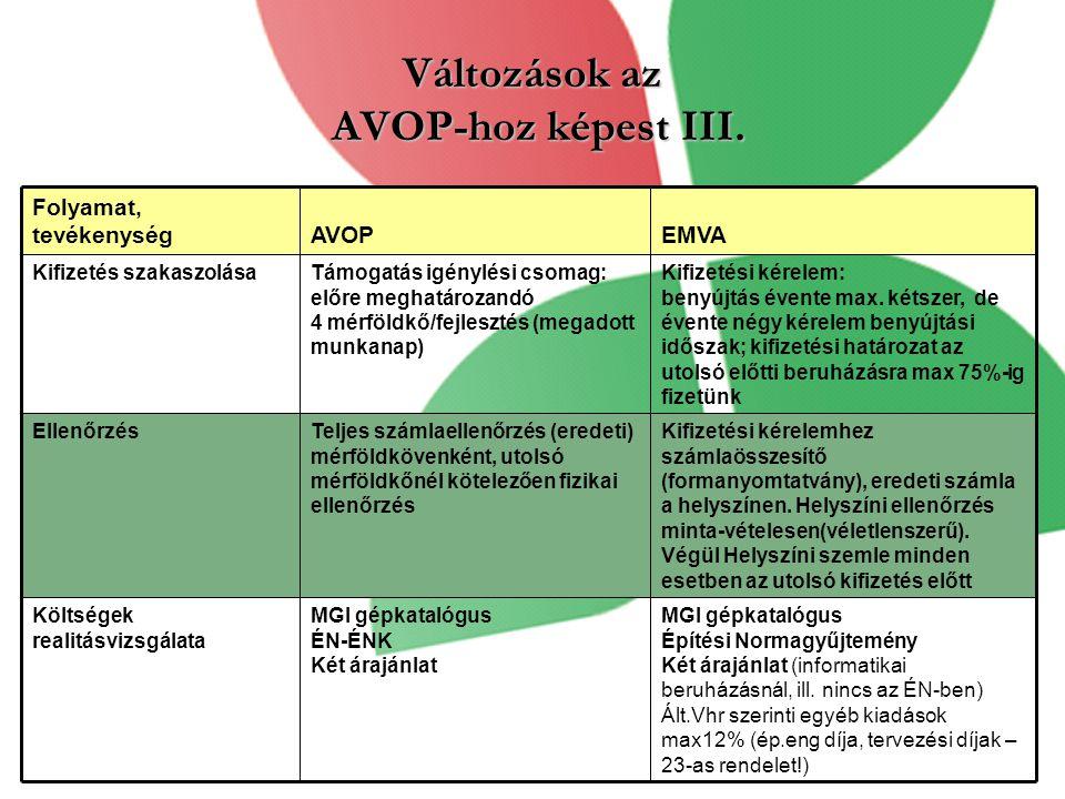 Változások az AVOP-hoz képest III.Kifizetési kérelem: benyújtás évente max.