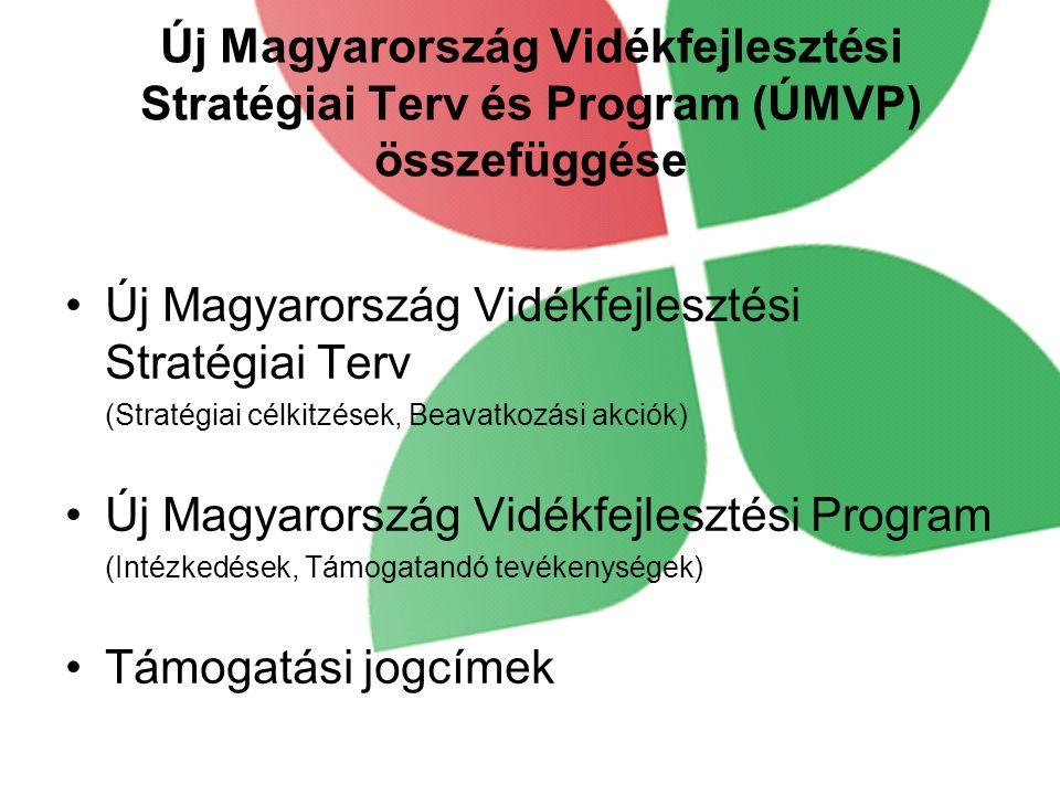 Új Magyarország Vidékfejlesztési Stratégiai Terv és Program (ÚMVP) összefüggése •Új Magyarország Vidékfejlesztési Stratégiai Terv (Stratégiai célkitzések, Beavatkozási akciók) •Új Magyarország Vidékfejlesztési Program (Intézkedések, Támogatandó tevékenységek) •Támogatási jogcímek