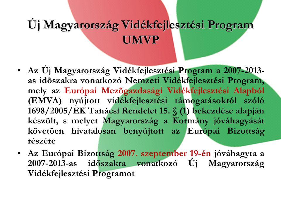 Új Magyarország Vidékfejlesztési Program UMVP •Az Új Magyarország Vidékfejlesztési Program a 2007-2013- as idõszakra vonatkozó Nemzeti Vidékfejlesztési Program, mely az Európai Mezõgazdasági Vidékfejlesztési Alapból (EMVA) nyújtott vidékfejlesztési támogatásokról szóló 1698/2005/EK Tanácsi Rendelet 15.