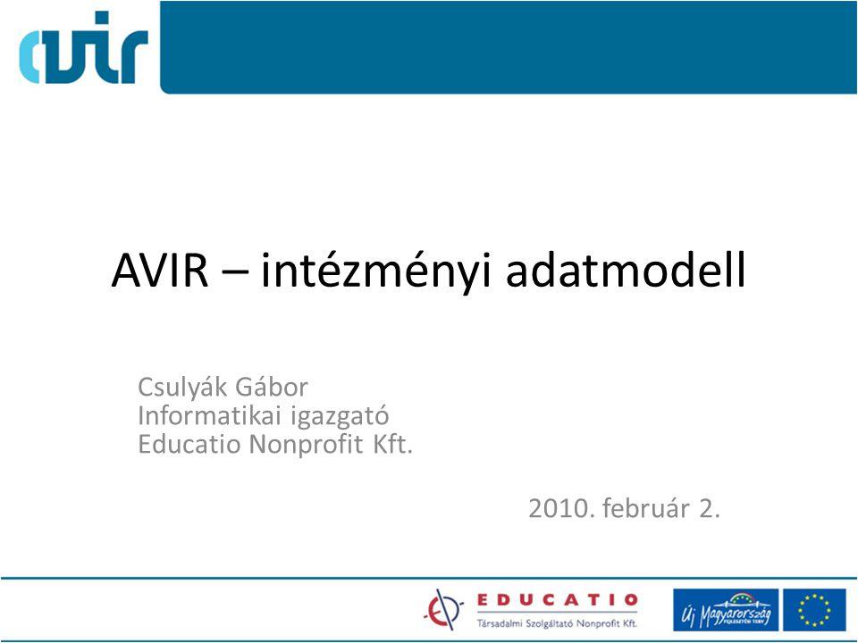 AVIR – intézményi adatmodell Csulyák Gábor Informatikai igazgató Educatio Nonprofit Kft.