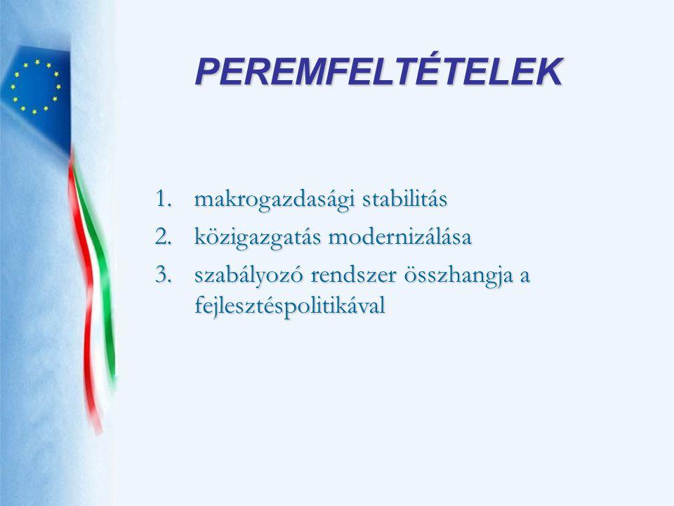 1.makrogazdasági stabilitás 2.közigazgatás modernizálása 3.szabályozó rendszer összhangja a fejlesztéspolitikával PEREMFELTÉTELEK
