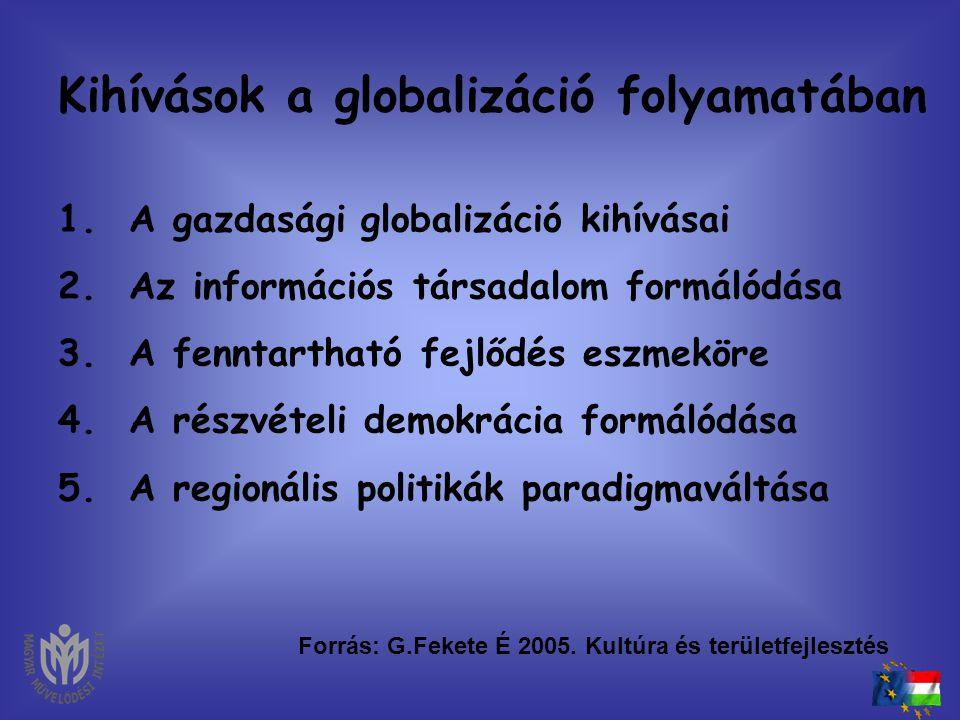 Kihívások a kultúra és a közművelődés területén • Önkormányzatok autonómiája • Szociális piacgazdaság • Esélyegyenlőtlenség • Európai Unió csatlakozás
