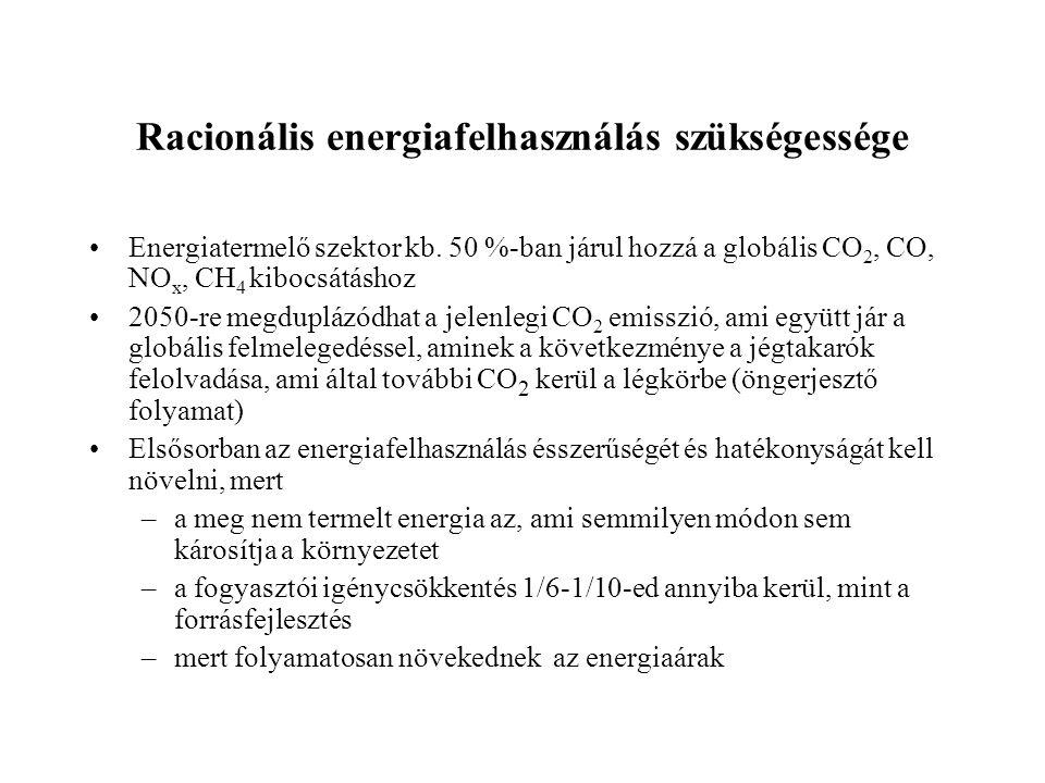 Racionális energiafelhasználás szükségessége •Energiatermelő szektor kb.