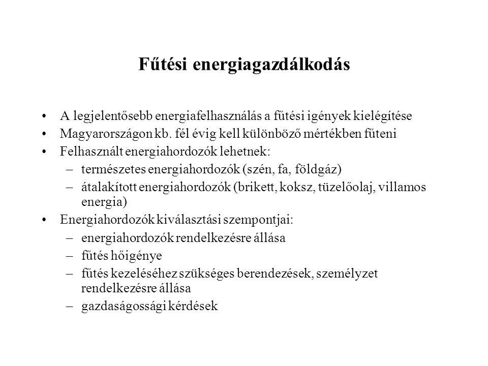 Fűtési energiagazdálkodás •A legjelentősebb energiafelhasználás a fűtési igények kielégítése •Magyarországon kb.