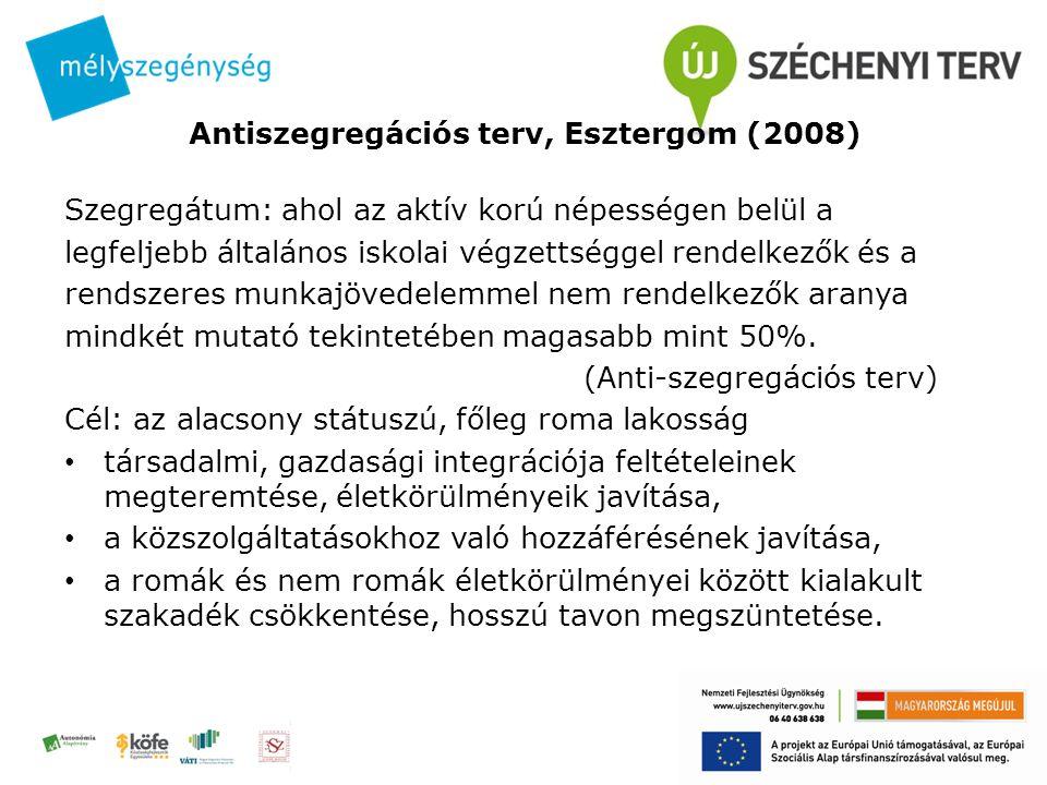 Antiszegregációs terv, Esztergom (2008) Szegregátum: ahol az aktív korú népességen belül a legfeljebb általános iskolai végzettséggel rendelkezők és a rendszeres munkajövedelemmel nem rendelkezők aranya mindkét mutató tekintetében magasabb mint 50%.