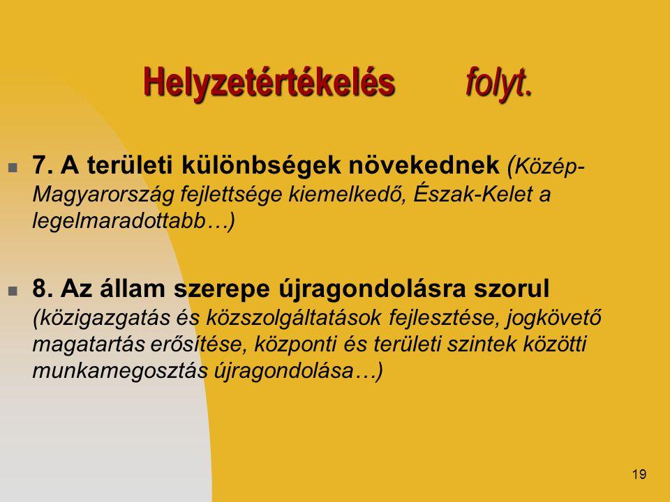 19 Helyzetértékelés folyt.  7. A területi különbségek növekednek ( Közép- Magyarország fejlettsége kiemelkedő, Észak-Kelet a legelmaradottabb…)  8.