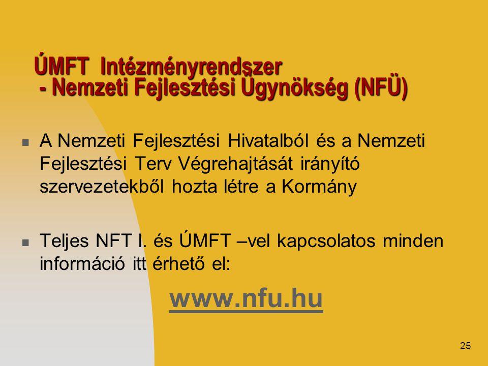25 ÚMFT Intézményrendszer - Nemzeti Fejlesztési Ügynökség (NFÜ)  A Nemzeti Fejlesztési Hivatalból és a Nemzeti Fejlesztési Terv Végrehajtását irányító szervezetekből hozta létre a Kormány  Teljes NFT I.