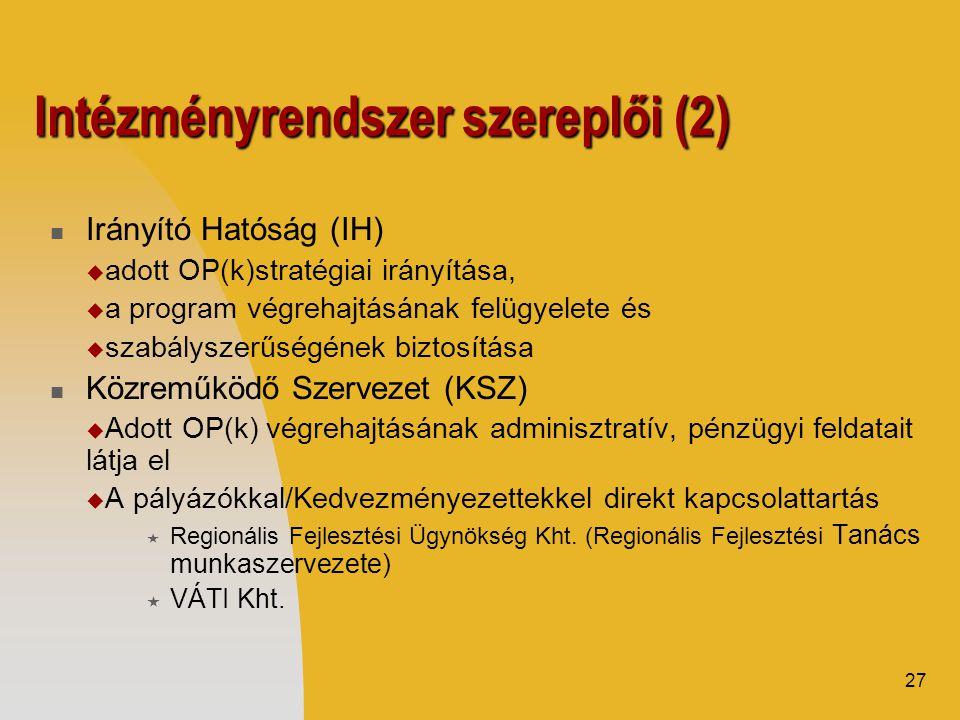 27 Intézményrendszer szereplői (2)  Irányító Hatóság (IH)  adott OP(k)stratégiai irányítása,  a program végrehajtásának felügyelete és  szabályszerűségének biztosítása  Közreműködő Szervezet (KSZ)  Adott OP(k) végrehajtásának adminisztratív, pénzügyi feldatait látja el  A pályázókkal/Kedvezményezettekkel direkt kapcsolattartás  Regionális Fejlesztési Ügynökség Kht.