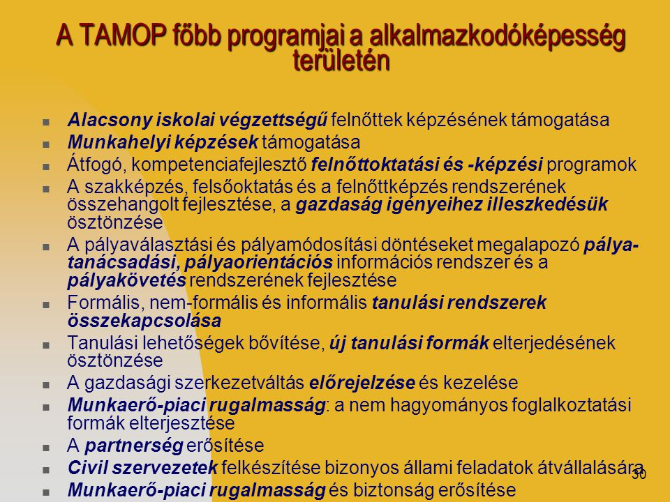 30 A TAMOP főbb programjai a alkalmazkodóképesség területén  Alacsony iskolai végzettségű felnőttek képzésének támogatása  Munkahelyi képzések támogatása  Átfogó, kompetenciafejlesztő felnőttoktatási és -képzési programok  A szakképzés, felsőoktatás és a felnőttképzés rendszerének összehangolt fejlesztése, a gazdaság igényeihez illeszkedésük ösztönzése  A pályaválasztási és pályamódosítási döntéseket megalapozó pálya- tanácsadási, pályaorientációs információs rendszer és a pályakövetés rendszerének fejlesztése  Formális, nem-formális és informális tanulási rendszerek összekapcsolása  Tanulási lehetőségek bővítése, új tanulási formák elterjedésének ösztönzése  A gazdasági szerkezetváltás előrejelzése és kezelése  Munkaerő-piaci rugalmasság: a nem hagyományos foglalkoztatási formák elterjesztése  A partnerség erősítése  Civil szervezetek felkészítése bizonyos állami feladatok átvállalására  Munkaerő-piaci rugalmasság és biztonság erősítése