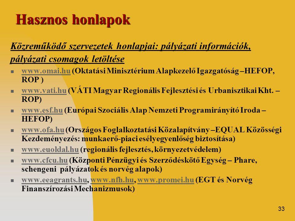 33 Hasznos honlapok Közreműködő szervezetek honlapjai: pályázati információk, pályázati csomagok letöltése  www.omai.hu (Oktatási Minisztérium Alapke