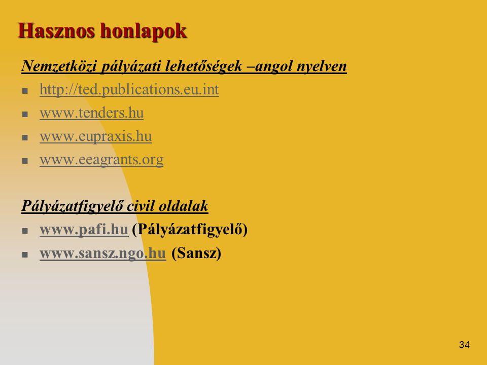 34 Hasznos honlapok Nemzetközi pályázati lehetőségek –angol nyelven  http://ted.publications.eu.int http://ted.publications.eu.int  www.tenders.hu www.tenders.hu  www.eupraxis.hu www.eupraxis.hu  www.eeagrants.org Pályázatfigyelő civil oldalak  www.pafi.hu (Pályázatfigyelő) www.pafi.hu  www.sansz.ngo.hu (Sansz) www.sansz.ngo.hu