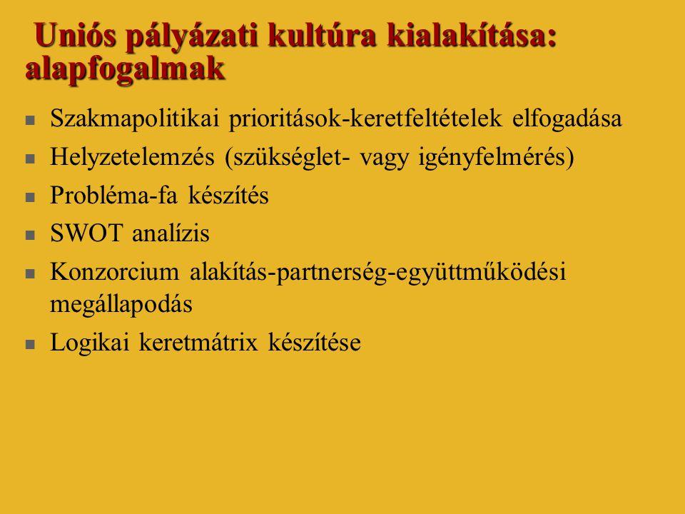 Uniós pályázati kultúra kialakítása: alapfogalmak Uniós pályázati kultúra kialakítása: alapfogalmak  Szakmapolitikai prioritások-keretfeltételek elfogadása  Helyzetelemzés (szükséglet- vagy igényfelmérés)  Probléma-fa készítés  SWOT analízis  Konzorcium alakítás-partnerség-együttműködési megállapodás  Logikai keretmátrix készítése