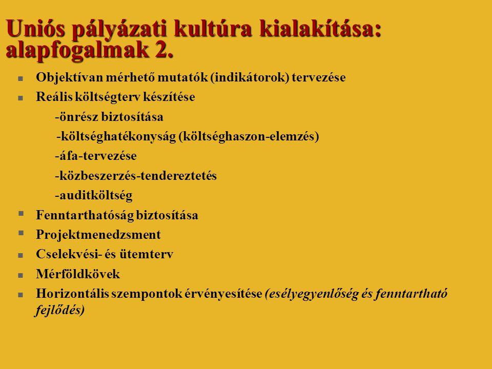 Uniós pályázati kultúra kialakítása: alapfogalmak 2.