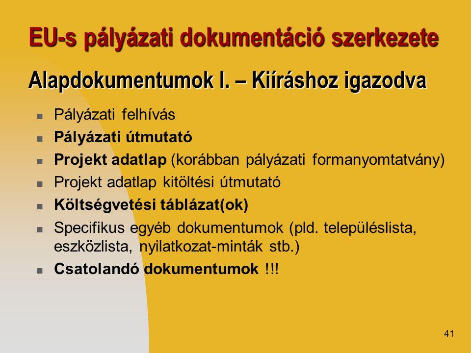 41 EU-s pályázati dokumentáció szerkezete Alapdokumentumok I.
