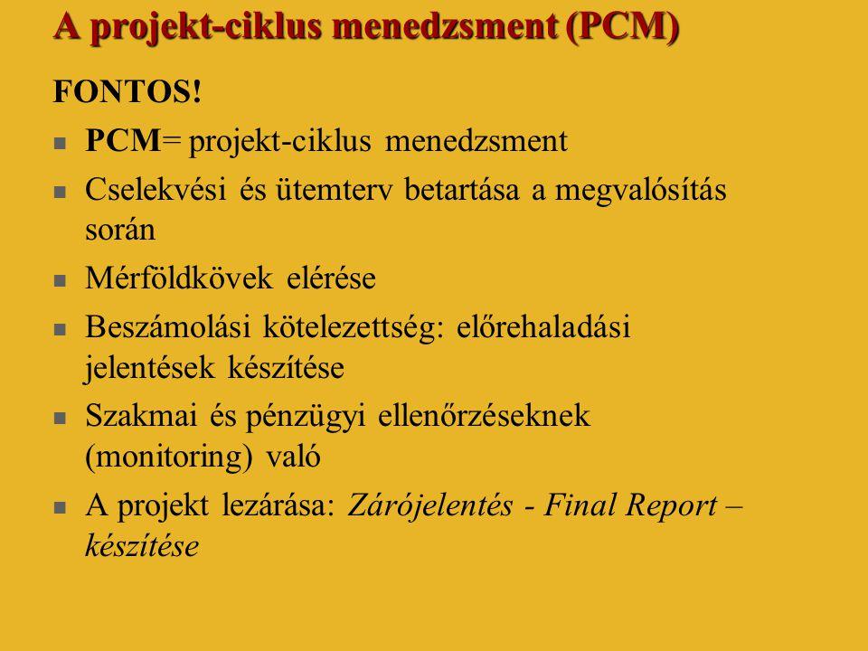 A projekt-ciklus menedzsment (PCM) FONTOS!  PCM= projekt-ciklus menedzsment  Cselekvési és ütemterv betartása a megvalósítás során  Mérföldkövek el