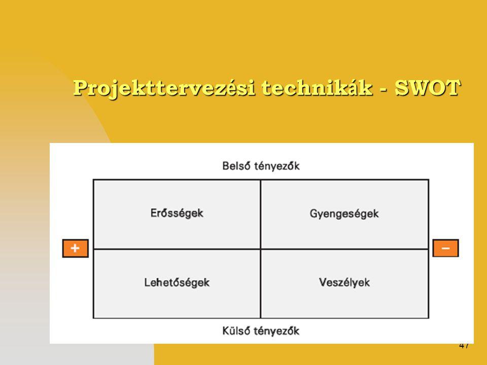 47 Projekttervez é si technik á k - SWOT