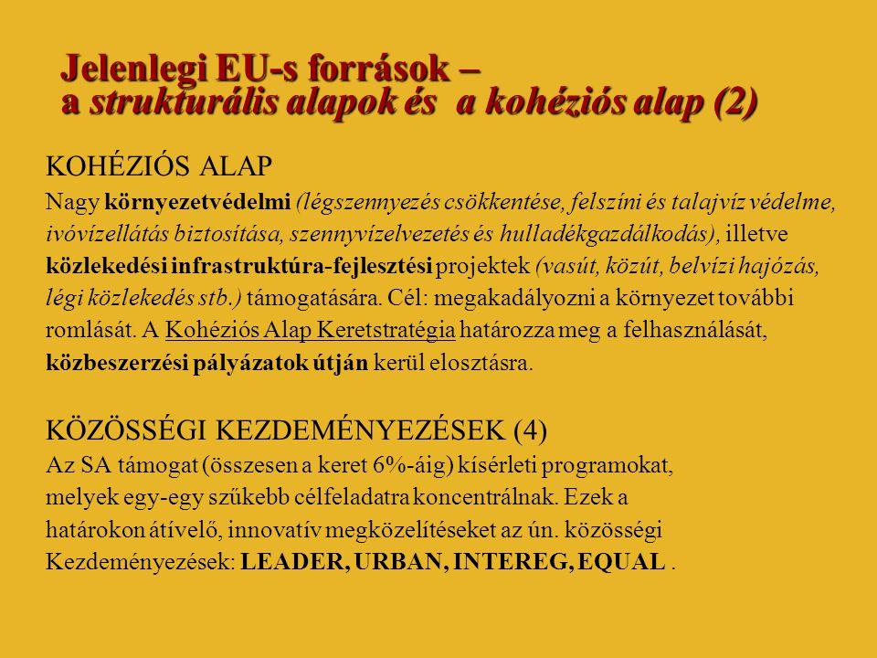 Jelenlegi EU-s források – a strukturális alapok és a kohéziós alap (2) KOHÉZIÓS ALAP Nagy környezetvédelmi (légszennyezés csökkentése, felszíni és talajvíz védelme, ivóvízellátás biztosítása, szennyvízelvezetés és hulladékgazdálkodás), illetve közlekedési infrastruktúra-fejlesztési projektek (vasút, közút, belvízi hajózás, légi közlekedés stb.) támogatására.