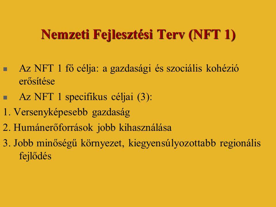 Nemzeti Fejlesztési Terv (NFT 1)  Az NFT 1 fő célja: a gazdasági és szociális kohézió erősítése  Az NFT 1 specifikus céljai (3): 1. Versenyképesebb
