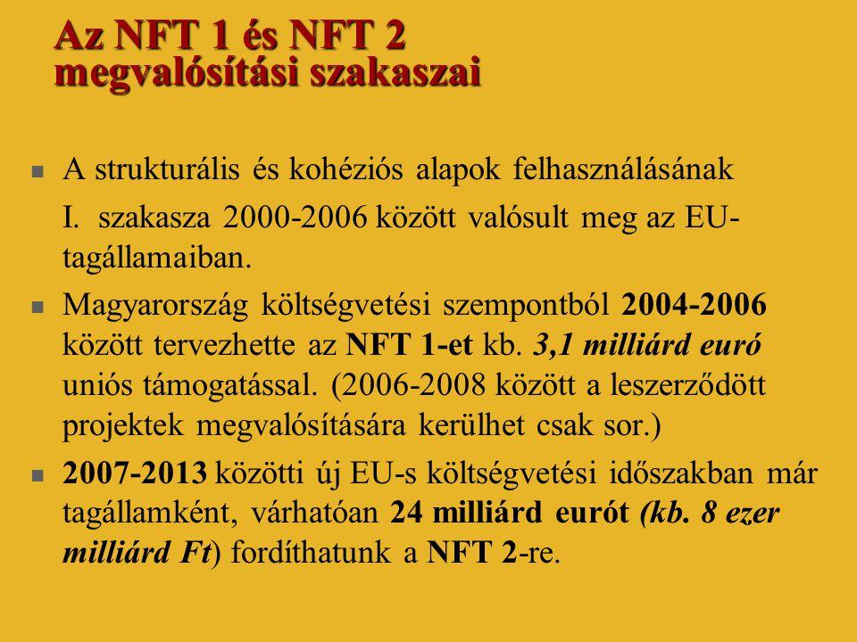 Az NFT 1 és NFT 2 megvalósítási szakaszai  A strukturális és kohéziós alapok felhasználásának I. szakasza 2000-2006 között valósult meg az EU- tagáll