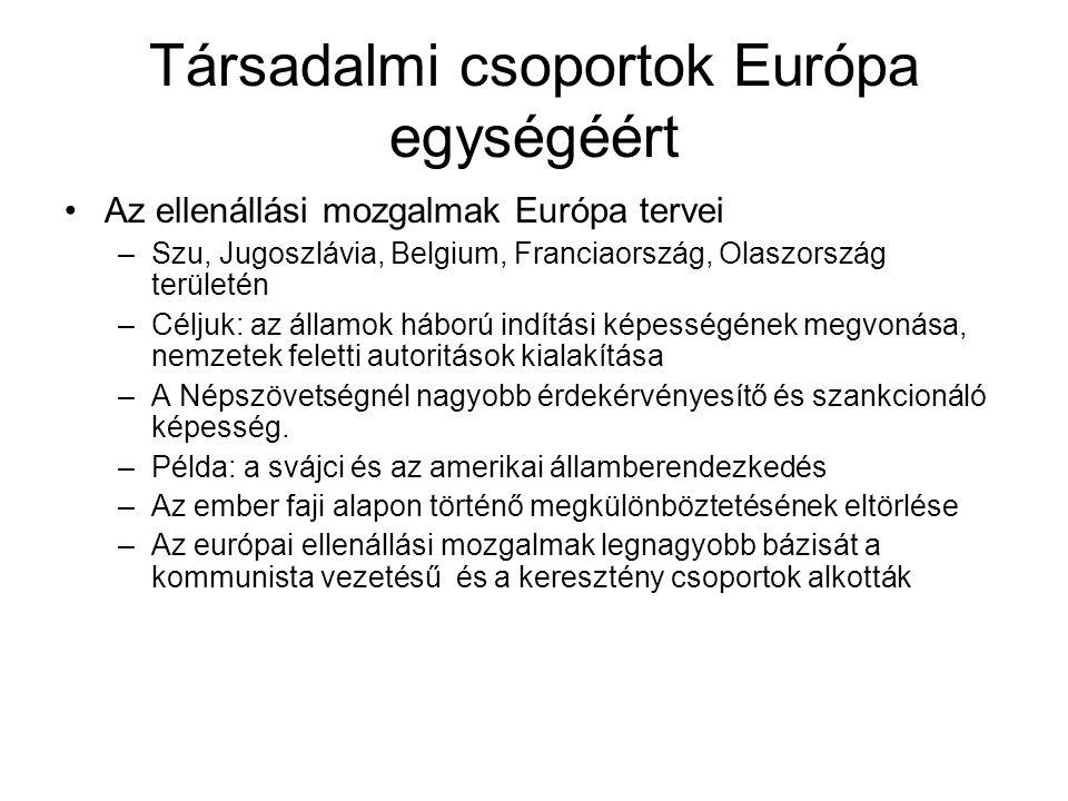 Társadalmi csoportok Európa egységéért •Az ellenállási mozgalmak Európa tervei –Szu, Jugoszlávia, Belgium, Franciaország, Olaszország területén –Célju