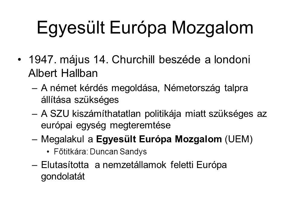 Egyesült Európa Mozgalom •1947. május 14. Churchill beszéde a londoni Albert Hallban –A német kérdés megoldása, Németország talpra állítása szükséges