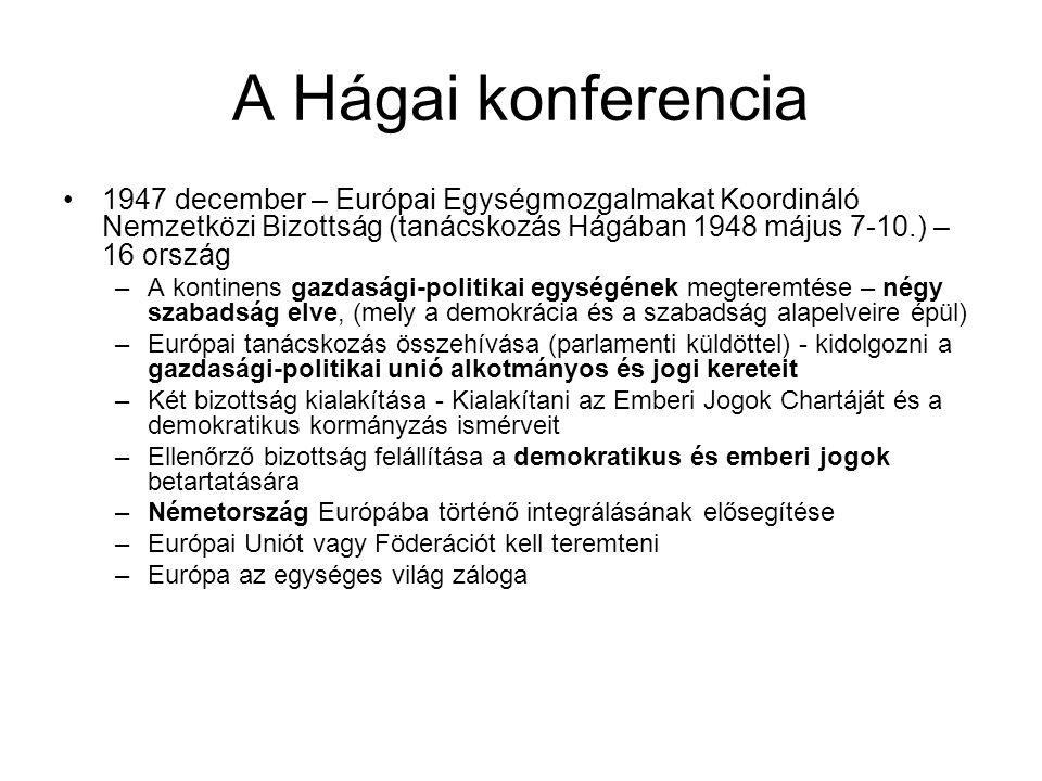 A Hágai konferencia •1947 december – Európai Egységmozgalmakat Koordináló Nemzetközi Bizottság (tanácskozás Hágában 1948 május 7-10.) – 16 ország –A k