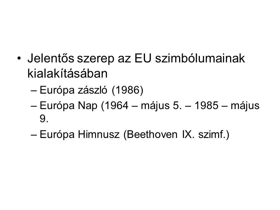 •Jelentős szerep az EU szimbólumainak kialakításában –Európa zászló (1986) –Európa Nap (1964 – május 5. – 1985 – május 9. –Európa Himnusz (Beethoven I