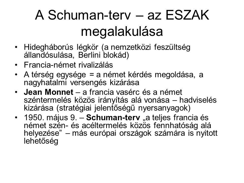 A Schuman-terv – az ESZAK megalakulása •Hidegháborús légkör (a nemzetközi feszültség állandósulása, Berlini blokád) •Francia-német rivalizálás •A térs