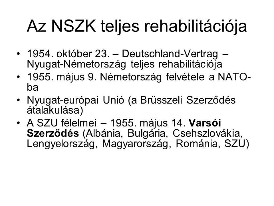 Az NSZK teljes rehabilitációja •1954. október 23. – Deutschland-Vertrag – Nyugat-Németország teljes rehabilitációja •1955. május 9. Németország felvét
