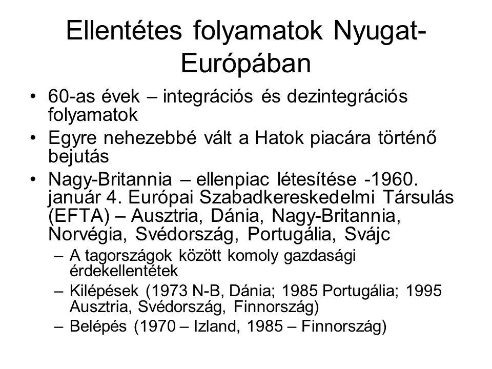 Ellentétes folyamatok Nyugat- Európában •60-as évek – integrációs és dezintegrációs folyamatok •Egyre nehezebbé vált a Hatok piacára történő bejutás •