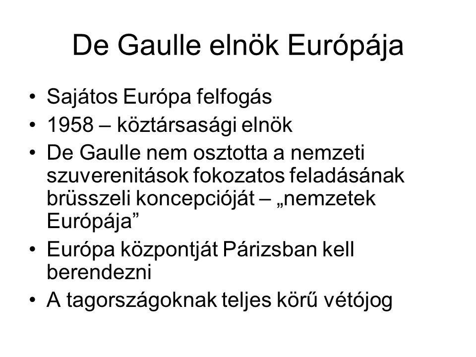 De Gaulle elnök Európája •Sajátos Európa felfogás •1958 – köztársasági elnök •De Gaulle nem osztotta a nemzeti szuverenitások fokozatos feladásának br