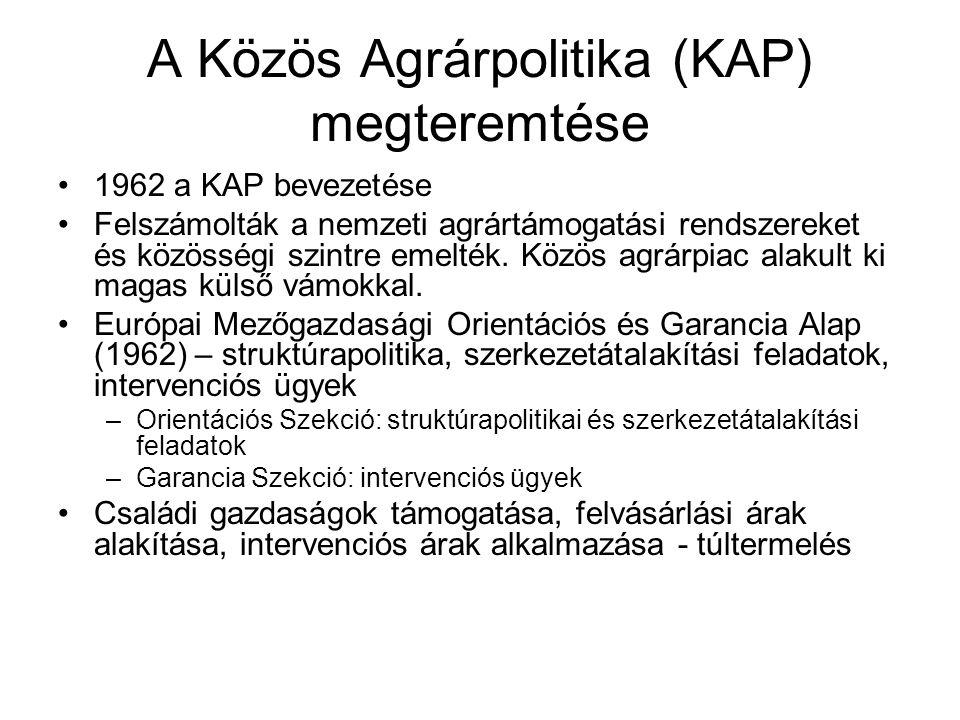 A Közös Agrárpolitika (KAP) megteremtése •1962 a KAP bevezetése •Felszámolták a nemzeti agrártámogatási rendszereket és közösségi szintre emelték. Köz
