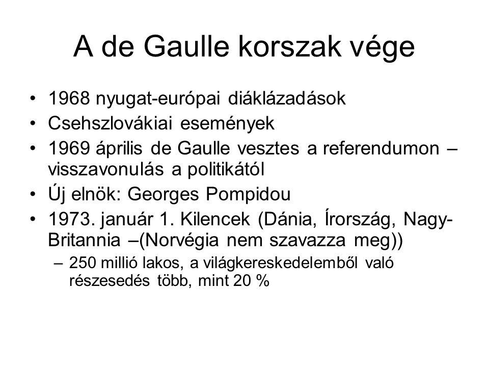 A de Gaulle korszak vége •1968 nyugat-európai diáklázadások •Csehszlovákiai események •1969 április de Gaulle vesztes a referendumon – visszavonulás a