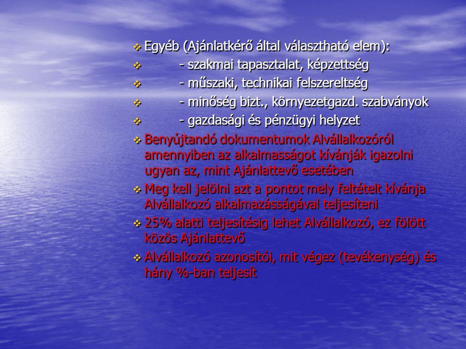  Egyéb (Ajánlatkérő által választható elem):  - szakmai tapasztalat, képzettség  - műszaki, technikai felszereltség  - minőség bizt., környezetgaz