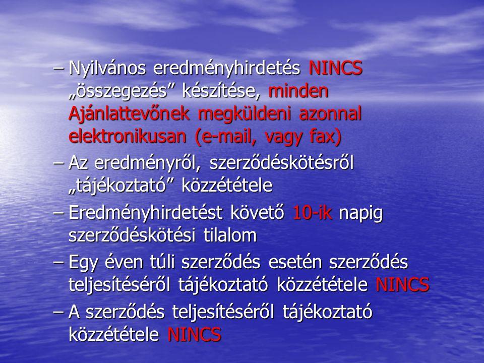 """–Nyilvános eredményhirdetés NINCS """"összegezés"""" készítése, minden Ajánlattevőnek megküldeni azonnal elektronikusan (e-mail, vagy fax) –Az eredményről,"""